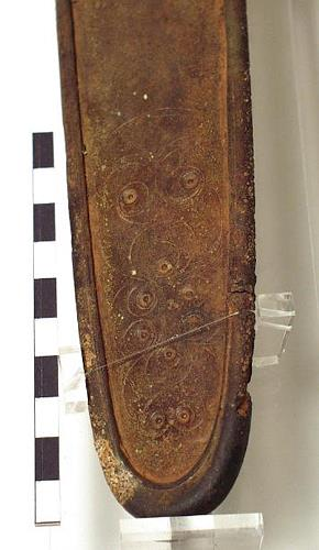 Photograph of the decorative detail on an Iron Age scabbard from Congham. Photograph from MODES.