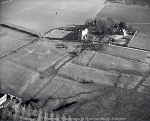 Aerial photograph of the earthworks of the shrunken village of Shouldham.