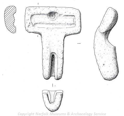 Drawing of a Roman brooch mould from Brancaster.