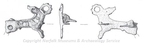 Drawing of a Roman zoomorphic stag brooch from Hockwold-cum-Wilton.