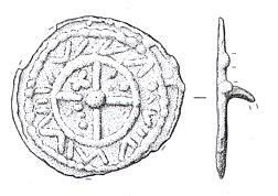 Drawing of a medieval nummular brooch from West Rudham.