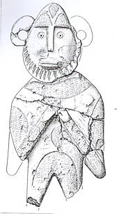 Drawing of a carved alabaster figure of a knight found in Great Dunham.