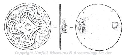 Drawing of a 10th century Borre style disc brooch from Hilborough.