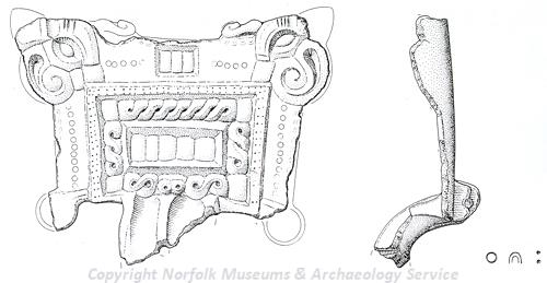 Drawing of an Early Saxon upper bow and headplate of a great square-headed brooch from Quidenham Early Saxon cemetery.