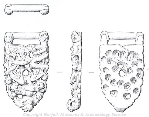 Drawing of a medieval openwork and relief decorated strap-union from Quidenham.