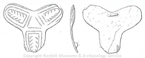Drawing of a Late Saxon copper alloy trefoil brooch from Postwick.