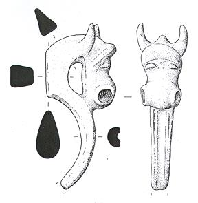 Drawing of an Iron Age copper alloy cast vessel mount in the form of a bull's head from Kenninghall.