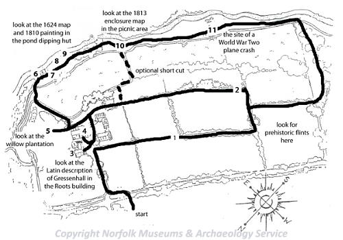 A map of the Gressenhall Farm Heritage Trail.