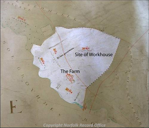 Map of the area of Gressenhall Farm drawn in 1624.