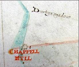 Detail of the 1624 map of Gressenhall showing Chappell Mill.