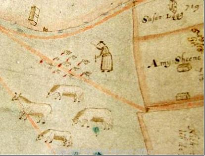 Detail of the 1624 map of Gressenhall showing geese and cattle on the common.