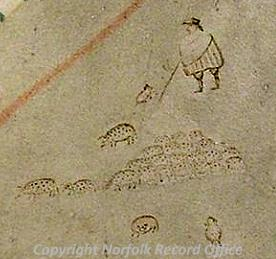 Detail of the 1624 map of Gressenhall showing pigs on the common.