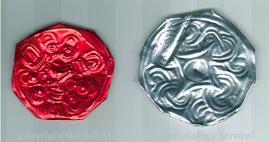 Late Saxon disc brooches made during Archaeology Week 2006 at Gressenhall Farm and Workhouse.