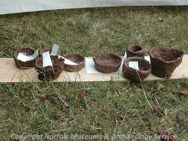 Prehistoric pots made during Archaeology Week 2006 at Gressenhall Farm and Workhouse.