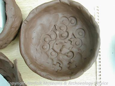 Detail of the inside of a prehistoric pot made during Archaeology Week 2006 at Gressenhall Farm and Workhouse.