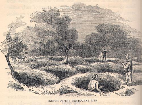 Drawing of the excavation of the ironworking pits between Weybourne and Runton.