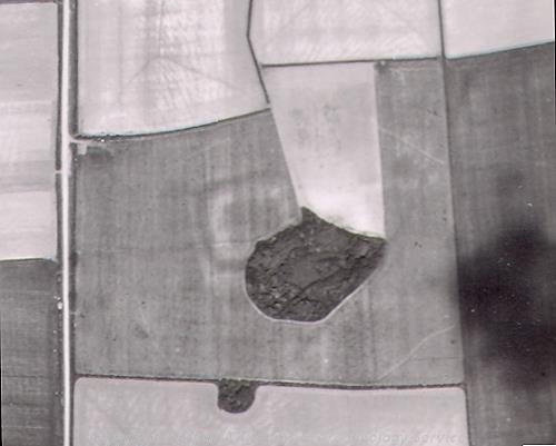 Aerial photograph showing the cropmarks of Thornham Fort.