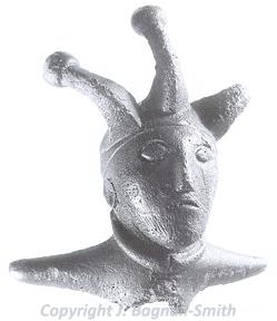 Photograph of a Roman bust of a three-horned deity found at the Walsingham Roman temple site.