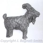 A photograph of a Roman model of a goat found at the Walsingham Roman temple site.