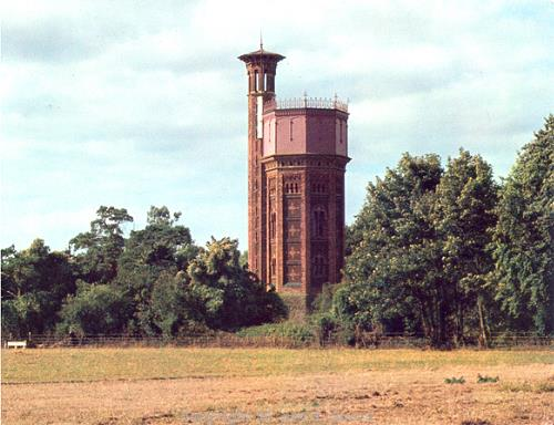 Photograph of Appleton red brick water tower built in 1877.