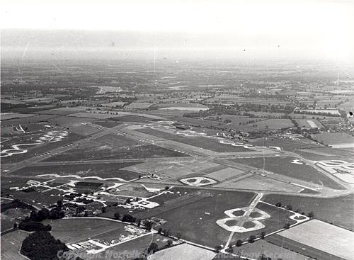 Aerial photograph of Rackheath airfield.