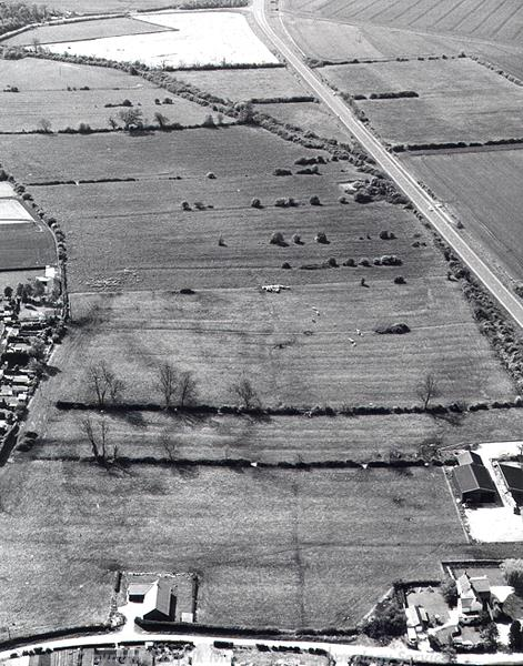 Aerial photograph of medieval ridge and furrow earthworks at Hilgay.