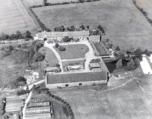 Aerial photograph of the site of the late 15th century Hales Hall.