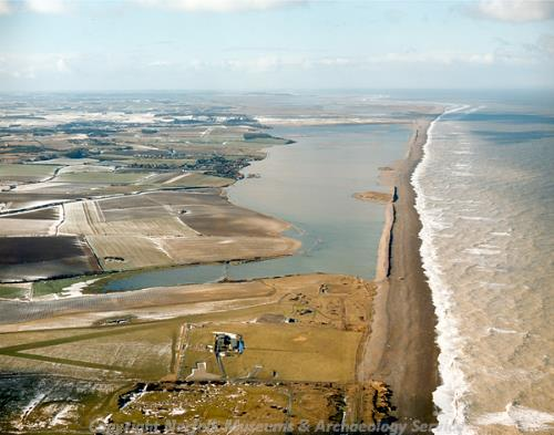 Aerial photograph of the flooded coastline at Salthouse.
