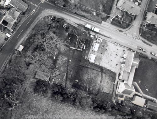 Aerial photograph of excavations of the commandry at Carbrooke.