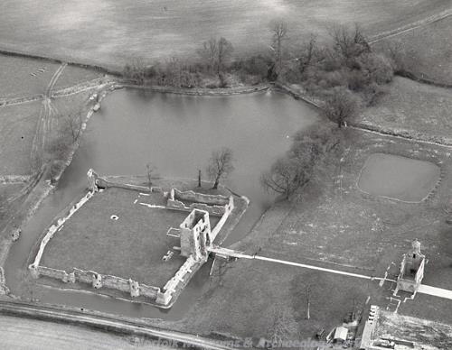 Aerial photograph of Baconsthorpe Castle.