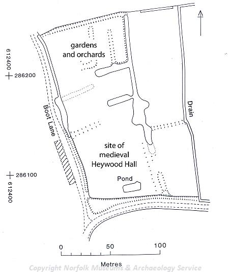 Earthwork plan of Heywood Hall, Diss.
