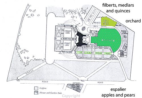 Plan of the Arts and Crafts garden at Voewood including an orchard area.
