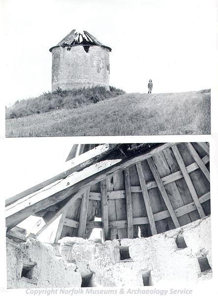 Photograph of the exterior and interior of a post medieval dovecote at Threxton.