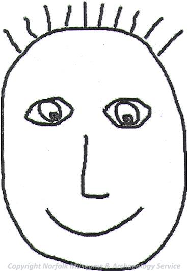 Drawing of the face template used for designing your own Iron Age painted face.