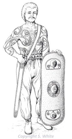 Drawing of an Iron Age Iceni warrior with tattoos on this chest and arms.