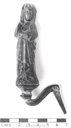 Photograph of a 15th century gilt-copper alloy figure of the Virgin Mary from Quidenham.