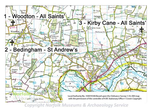 A map of the Norfolk Churches Round Towers, Fonts and Piscinae Heritage Trail.