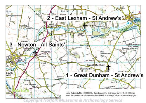 A map of the Norfolk Churches Saxon Towers Heritage Trail.