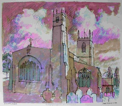 Photograph of David Jone's painting of St Nichola's Church, Blakeney.