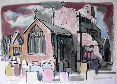 Photograph of David Jones' painting of St Margaret's Church, Cley-next-the-Sea.