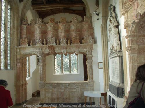 Terracotta screen in the Bedingfield Chapel at Oxborough Parish Church.