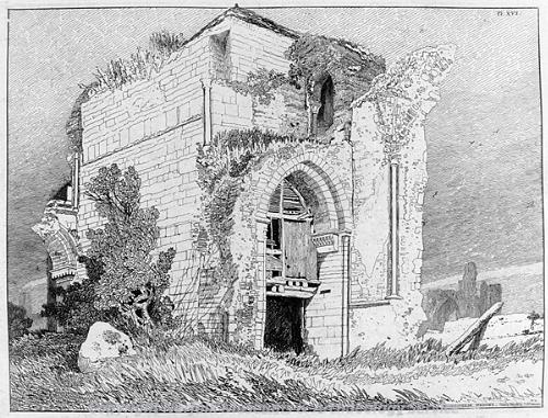 Photograph of John Sell Cotman's etching of Bromholm Priory, Bacton.