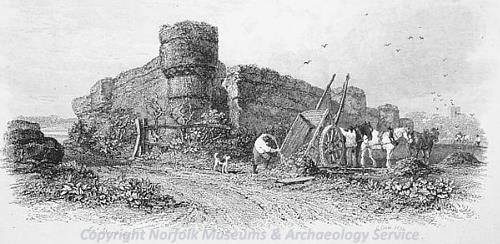 Photograph of James Stark's etching of Burgh Castle, 1831.