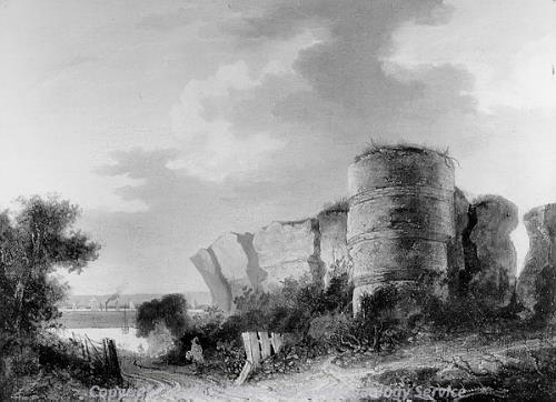 Photograph of John Berney Crome's undated etching of Burgh Castle.