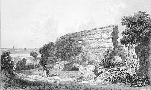 Photograph of Joseph Lambert's 1821 etching of Burgh Castle.