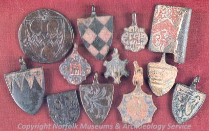 Photograph of decorated medieval horse furniture held in Norwich Castle Museum.
