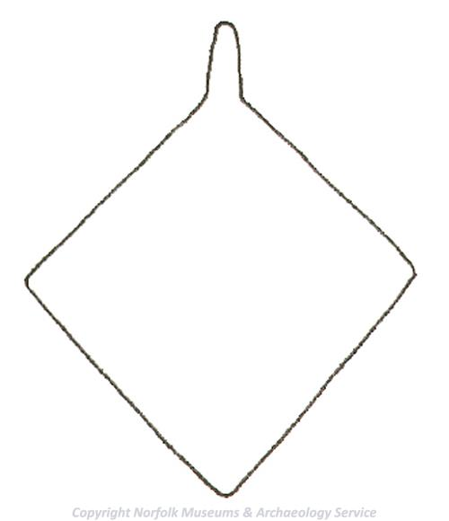 Drawing of the template used to make a lozenge-shaped medieval horse harness pendant.