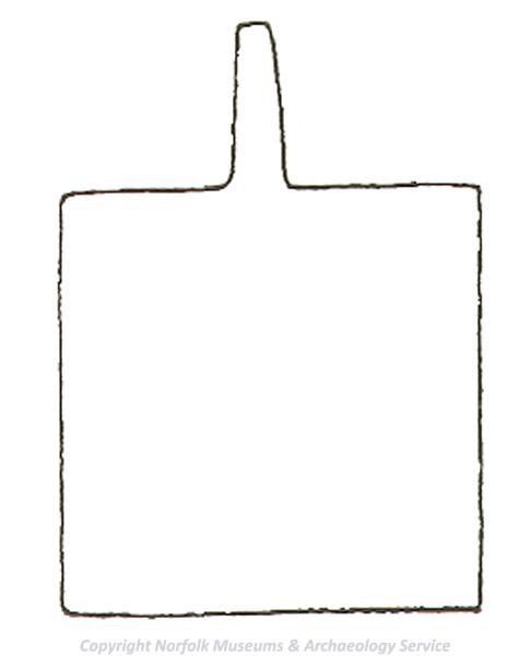 Drawing of the template used to make a square medieval horse harness pendant.