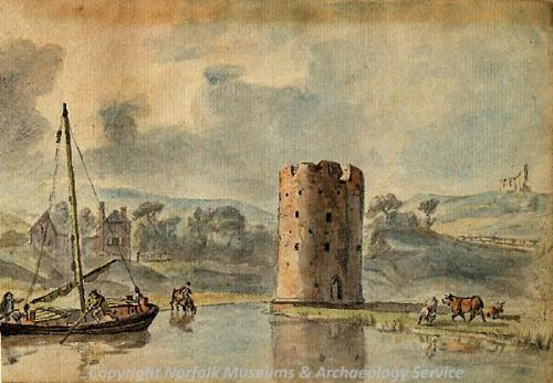 Photograph of a painting of the Cow Tower by C. Catton.
