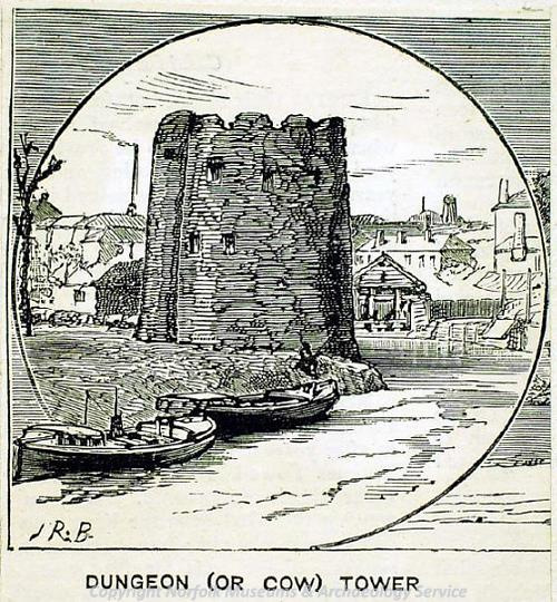 Photograph of a print of the Cow Tower by J.R. Brown, 1883.